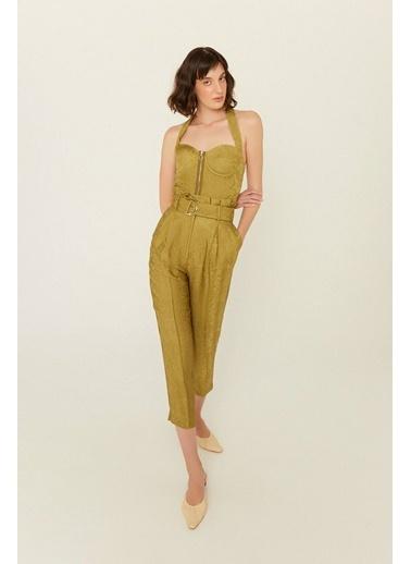Rue Fermuarlı Kısa Bluz Yeşil